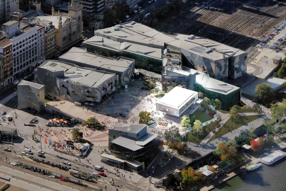 An aerial view of Federation Square highlighting the position of the new Apple shop.