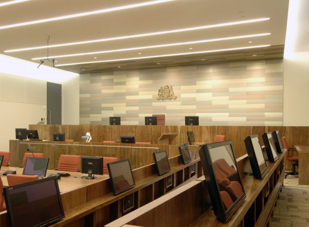 anodised Extrusions for wall design - courtroom